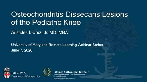 Thumbnail for entry Osteochondritis Dissecans Lesions of the Pediatric Knee
