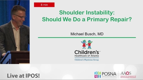 Thumbnail for entry Shoulder Instability: Should We Do a Primary Repair?