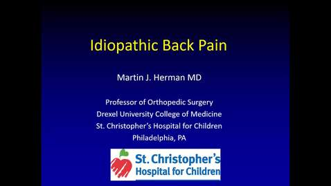 Thumbnail for entry Idiopathic Back Pain in Children