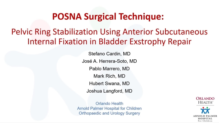 Pelvic Ring Stabilization Using Anterior Subcutaneous Internal Fixation in Bladder Exstrophy Repair