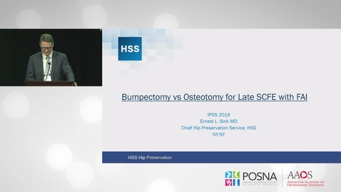 "Thumbnail for entry Bumpectomy"" vs Osteotomy for Late SCFE with FAI"