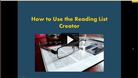 Reading List Creator Webinar