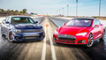 Tesla Model S P85D Drag Races Dodge Charger SRT Hellcat on Head 2 Head