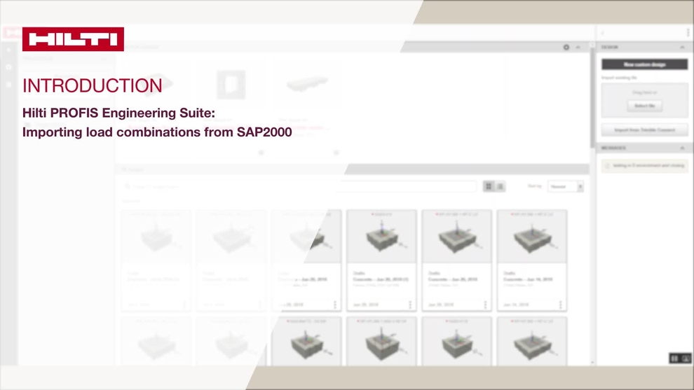 Profis engineering; how to import load combinations from SAP2000