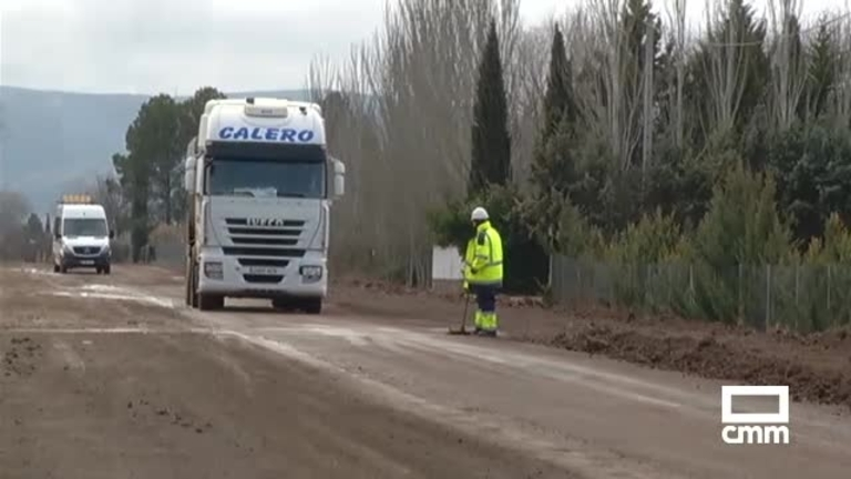 Obras de mejora en la carretera que une Villamayor con Argamasilla, Ciudad Real
