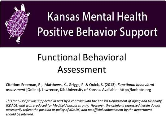 Functional Behavior Assessment Video  Kansas Mental Health Postivie