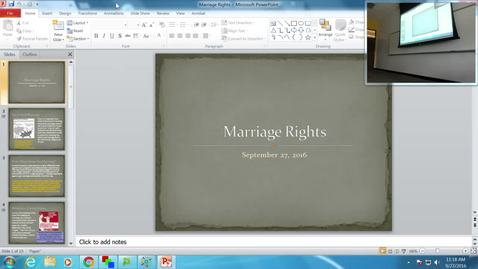 Marriage Rights: Professor Tannahill's Lecture of September 27, 2016