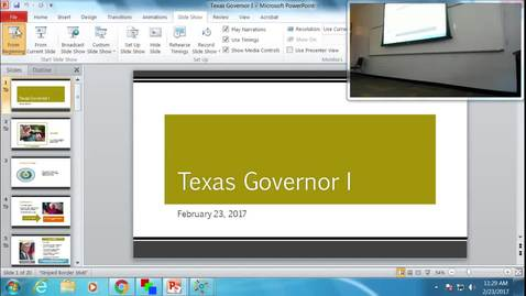 Texas Governor I: Professor Tannahill's Lecture of February 23, 2017