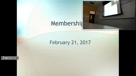 Legislative Membership: Professor Tannahill's Lecture of February 21, 2017