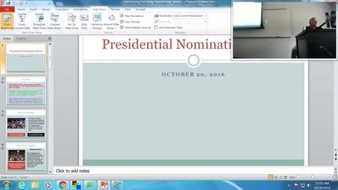 Presidential Nomination Process: Professor Tannahill's Lecture of October 20, 2016