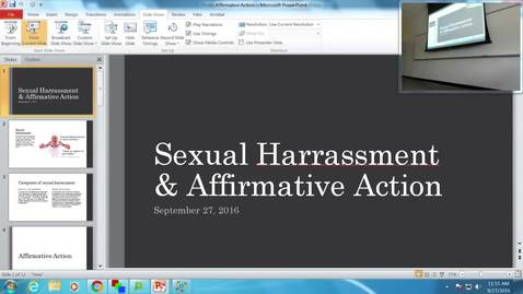 Sexual Harassment and Affirmative Action: Professor Tannahill's Lecture of September 27, 2016