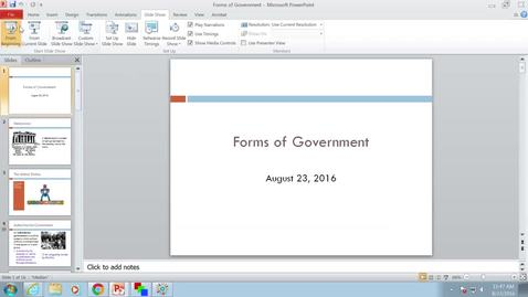 Forms of Government: Professor Tannahill's Lecture of August 23, 2016
