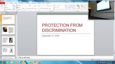 Protection from Discrimination: Professor Tannahill's Lecture of September 27, 2016