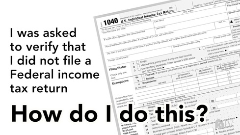 I was asked to verify that I did not file a Federal income tax return. How do I do this?