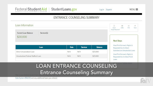 Loan Entrance Counseling Summary