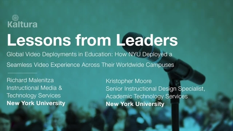 Thumbnail for entry Lessons From Leaders - New York University