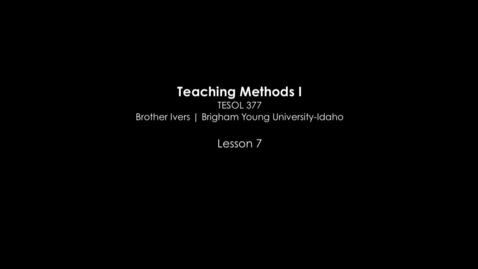 Thumbnail for entry TESOL 377 Natural Approach Classroom Video