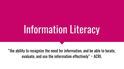Thumbnail for entry PathwayConnect Information Literacy