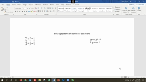 Thumbnail for entry MATH 109 - Solving Systems of Nonlinear Equations