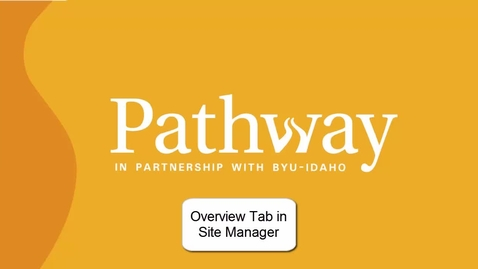Thumbnail for entry Overview Tab in Site Manager