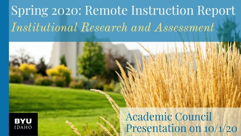 Thumbnail for entry Academic Council Spring 2020 | Remote Instruction Report