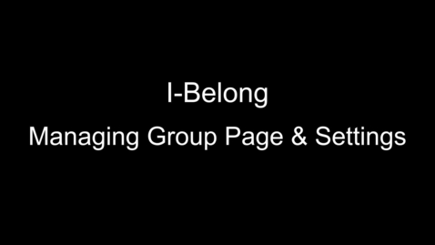 Thumbnail for entry Managing Group Page & Settings