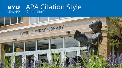 Thumbnail for entry APA Citation Style: 7th Edition