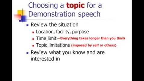Thumbnail for entry Informative Speeches: Demonstration Speeches