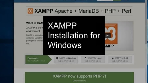 Thumbnail for entry XAMPP Installation for Windows