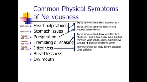 Thumbnail for entry Speech Anxiety: Symptoms & Suggestions