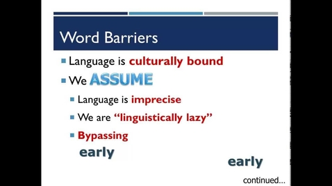 Thumbnail for entry Language: Barriers to Communication