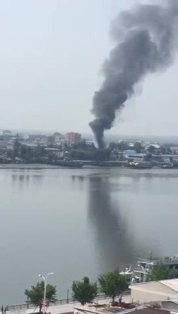 북한 신의주 강안역 화재 영상