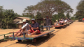 Cambodian Bamboo Train at End of Track