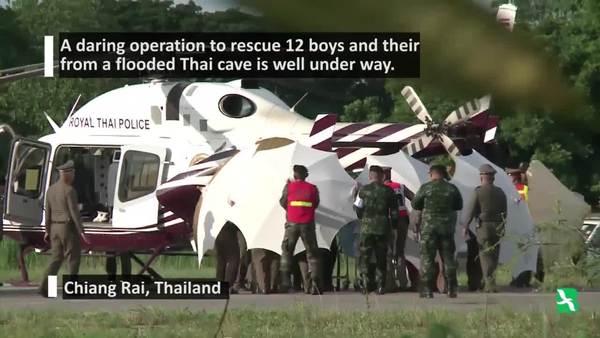 ภาพเหตุการณ์การกู้ภัยช่วยเหลือเด็กทีมหมูป่าจากถ้ำหลวง
