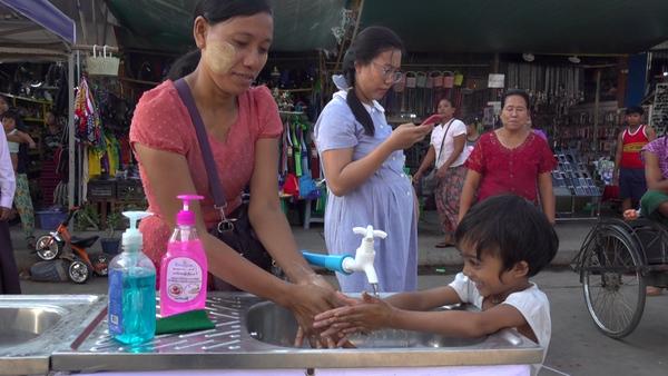 Handwashing Stations Pop Up in Yangon to Prevent Coronavirus