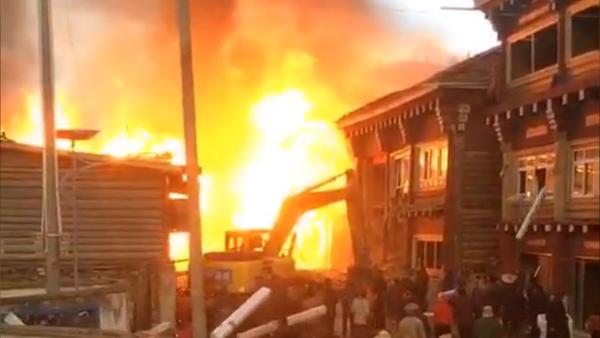 Fire Breaks Out in Remote Tibetan Village