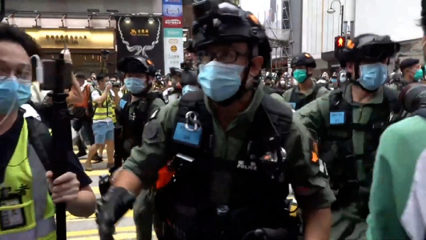 Police Out in Force as Hong Kong Marks China's National Day
