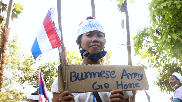 Protesters in Myanmar's Karen and Mon State Call For Military Withdrawal