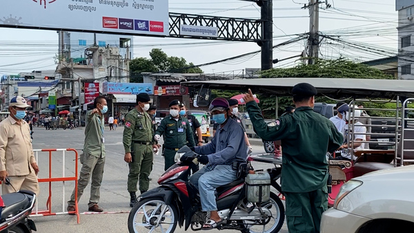 Roadblocks in Phnom Penh as Authorities Enforce a COVID-19 Lockdown