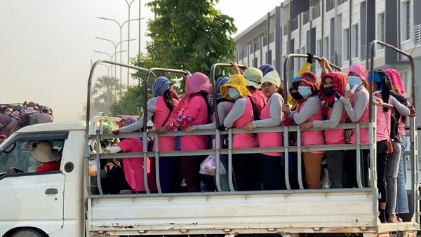 Cramped Commute a COVID-19 Risk for Cambodia's Garment Workers