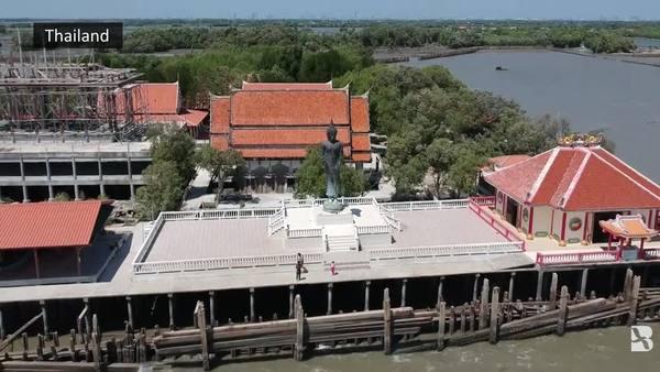 Against the Tide: Coastal Erosion Leaves Thai Temple Stranded