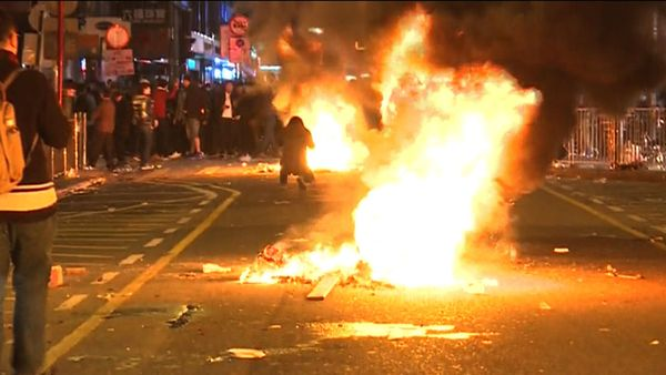 Violent New Year Clashes Erupt in Hong Kong