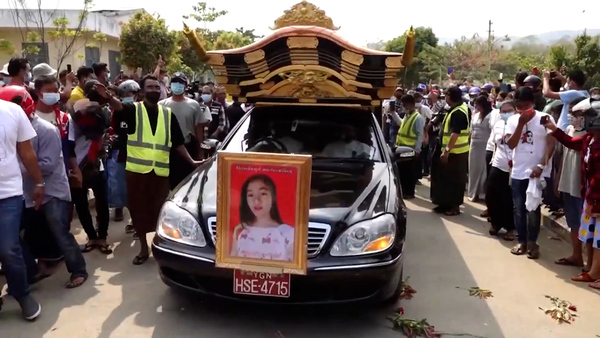 Thousands Gather in Naypyidaw for Funeral of Young Anti-Coup Protester