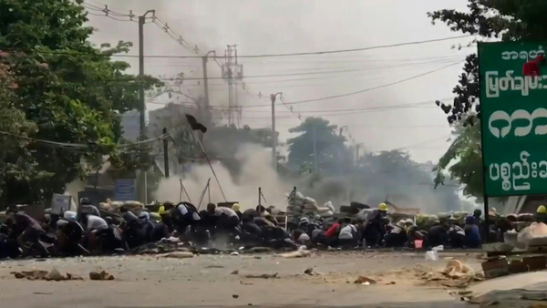 Barricade Explodes as Myanmar Protesters Clash with Security Forces