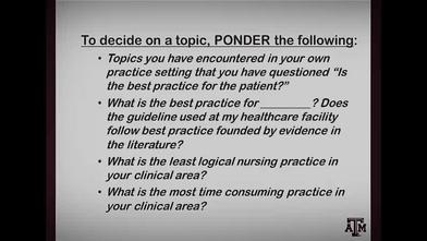 ebp nursing topics