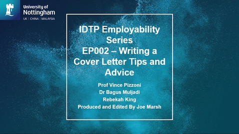 Thumbnail for entry Employability Series - Cover Letter