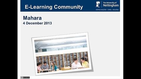 Thumbnail for entry December 2013 E-Learning community - Gordon Joyes - Mahara