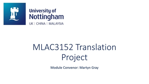 Thumbnail for entry MLAC3152 Translation Project