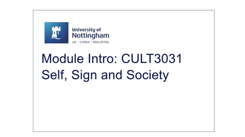 Thumbnail for entry CULT3031 Self, Sign and Society