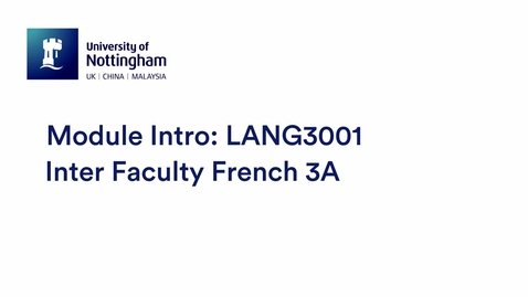 Thumbnail for entry LANG3001 Inter Faculty French 3A